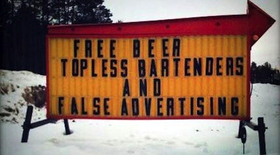 false advertising and free beer