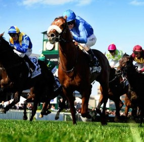 All The Good crosses the finish line to win the Caulfield Cup on 18 October.