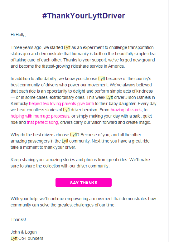 Lyft Letter  Appreciation Email