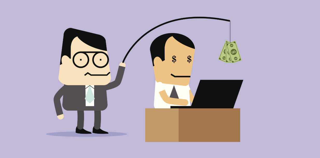 Graphic: a boss holding money on a stick in front of an employee to offer incentive to increase website traffic